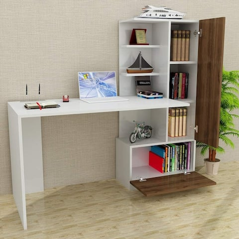 Pyramid Home Decor Modern Home Office Computer Desk with Shelves 59""