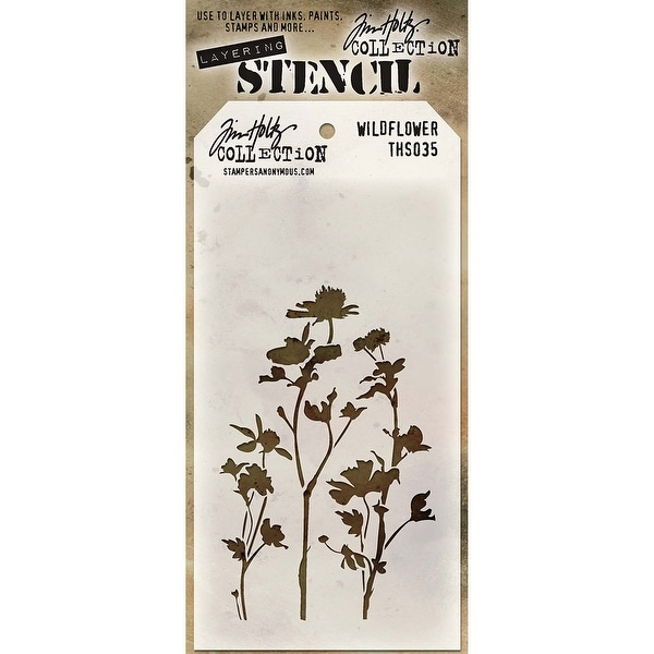 "Tim Holtz Layered Stencil 4.125""X8.5""-Wildflower"