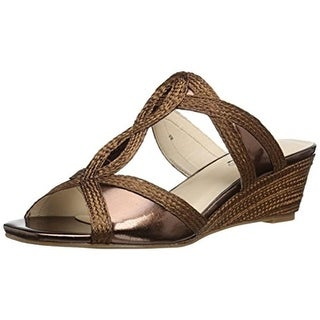 Annie Womens Adea Braided Slide Wedge Sandals