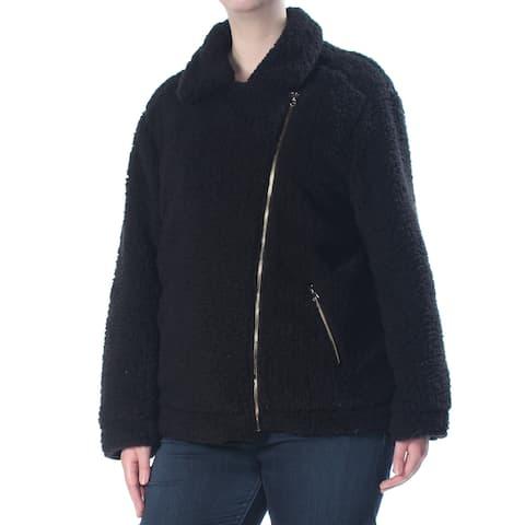 SAY WHAT? Womens Black Sherpa Moto Jacket Plus Size: 2X