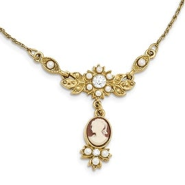 Goldtone Downton Abbey Acrylic Cameo Acrylic Pearl Crystal Necklace - 16in