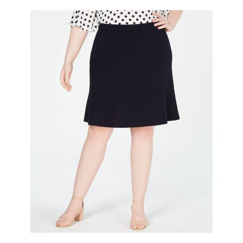 BAR III Womens Navy Knee Length A-Line Formal Skirt Plus Size: 16W