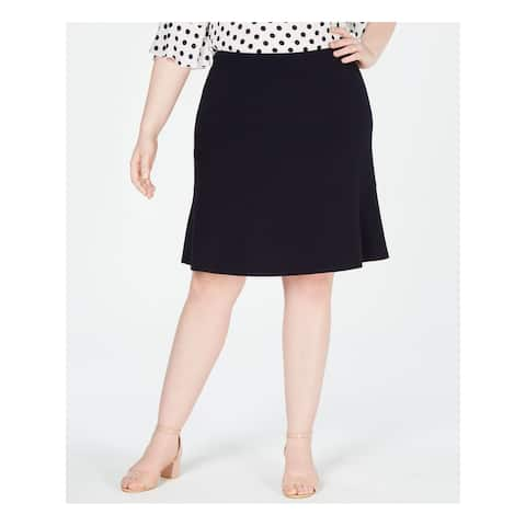 BAR III Womens Navy Knee Length A-Line Formal Skirt Plus Size: 24W