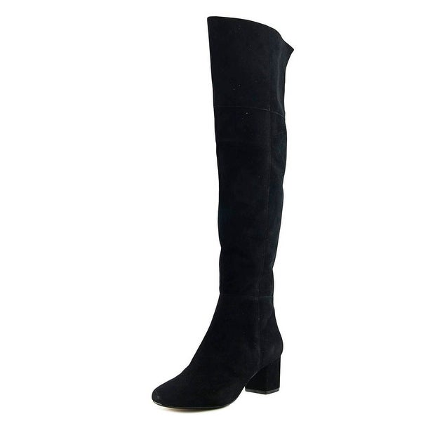 Dune London 011 Sanford Women Round Toe Suede Black Over the Knee Boot