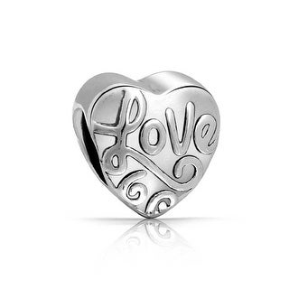 Bling Jewelry Heart Shaped Love Message Bead Charms .925 Sterling Silver
