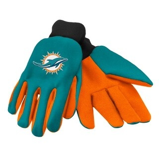 NFL Miami Dolphins Work/Utility Gloves, One Size, Team Color