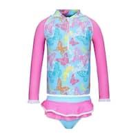 Sun Emporium Baby Girls Pink Butterfly Garden Zip Jacket Nappy Cover Set