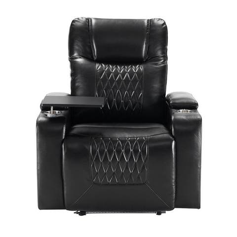 Power Motion Recliner with USB Charging Port and Hidden Arm Storage 2 Convenient Cup Holders design