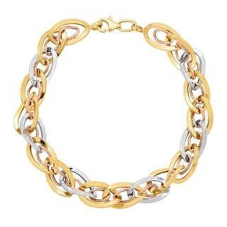 Eternity Gold Interlocking Oval Link Bracelet in Three-Tone 10K Gold