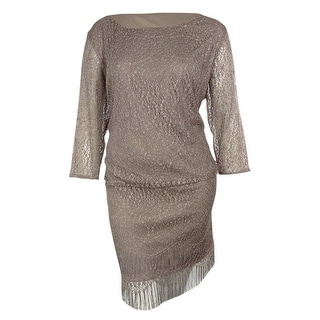 S.L. Fashions Women's Metallic Crochet Blouson Dress - 14