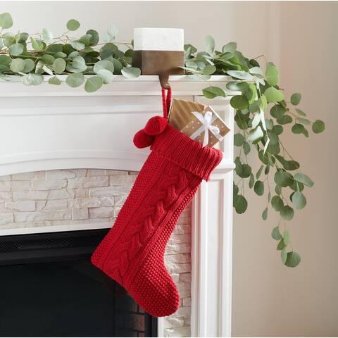 """Safavieh Holiday Nutmeg Hanging Knit Pom-Pom Stocking (Set of 2) - 11"""" W x 19"""" L"""