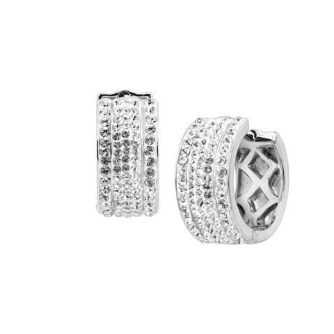Crystaluxe Huggie Hoop Earrings with Swarovski Crystals in Sterling Silver - White