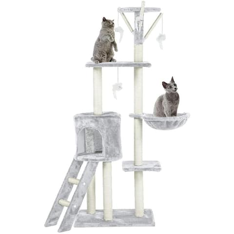 """EROMMY 56"""" Multi-Level Cat Tree Condo with Scratching Posts Perches"""