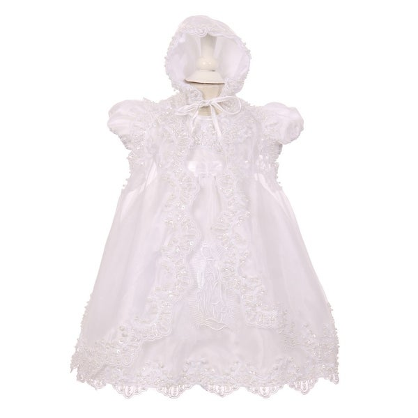 Baby Girls White Sequin Pearl Virgin Mary Embroidered Baptism Cape Dress 0-12M