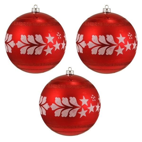 "3ct Red & White Glittery Shatterproof Christmas Ball Ornaments 6"" 150mm"
