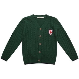 Richie House Boys' Solid Cardigan Sweater with Applique