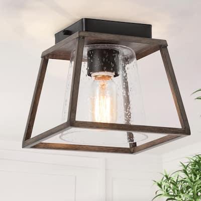 "Farmhouse 1-light Flush Mount Ceiling Lighting Glass Cage Fixtures Lamp - L 8""x W 8""x H 11.5"""