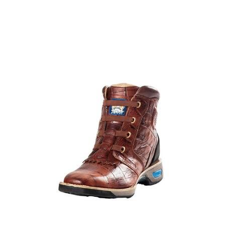 Cinch Work Boots Womens Leather WRX Gator Print Brown