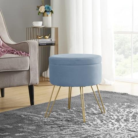 Round Velvet Storage Ottoman with Tray Top Table