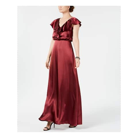 ADRIANNA PAPELL Burgundy Short Sleeve Full Length Dress Size 2