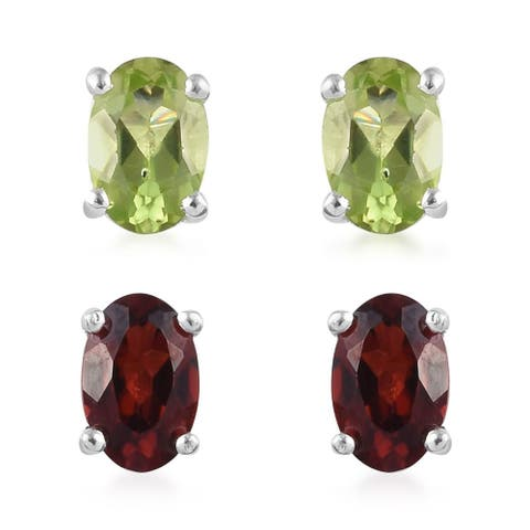 925 Sterling Silver Peridot Garnet Stud Earrings Set of 2