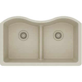 """Elkay ELGULB3322  Harmony 33"""" Double Basin Granite Composite Kitchen Sink for Undermount Installations with 50/50 Split and Aqua"""
