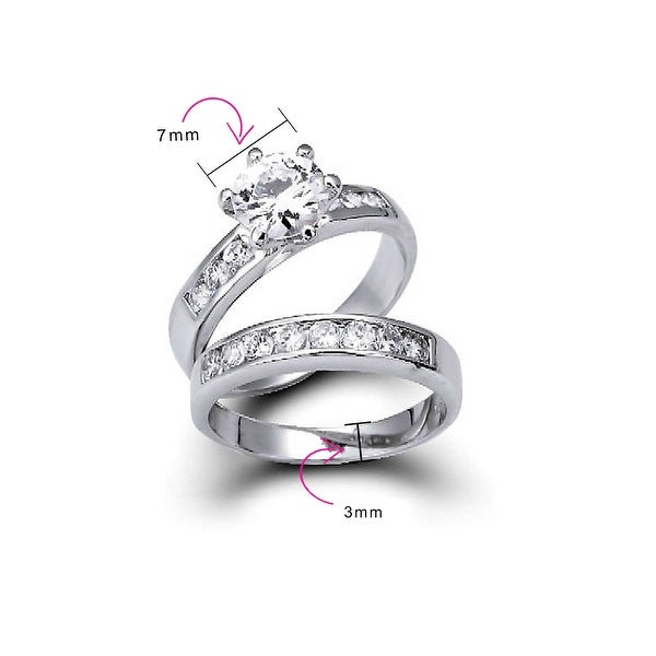 6 Womens 925 Sterling Silver Cubic Zirconia Round 7mm Ring