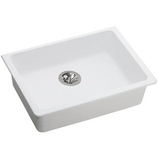 "Elkay ELGUAD2519PD  Quartz Classic 25"" Undermount Single Basin Quartz Kitchen Sink"