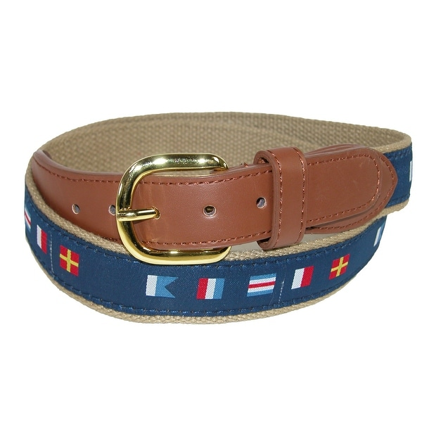 CTM® Men's Woven Fabric Belt with Nautical Signal Flags Ribbon Overlay