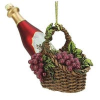 "4.5"" Tuscan Winery Red Glass Wine Bottle in Basket Christmas Ornament"