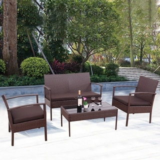Charming Costway 4 PCS Patio Rattan Wicker Furniture Set Brown Loveseat Sofa  Cushioned Garden Yard