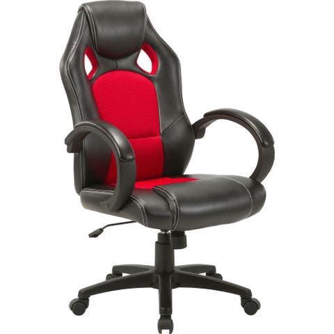 Lorell High-back 2-Color Economy Gaming Chair - Mesh, Polyurethane, Nylon - Black, Red