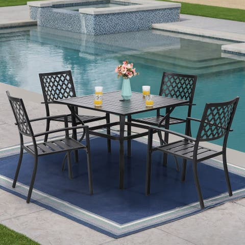 PHI VILLA Metal 5-piece Patio Dining Set