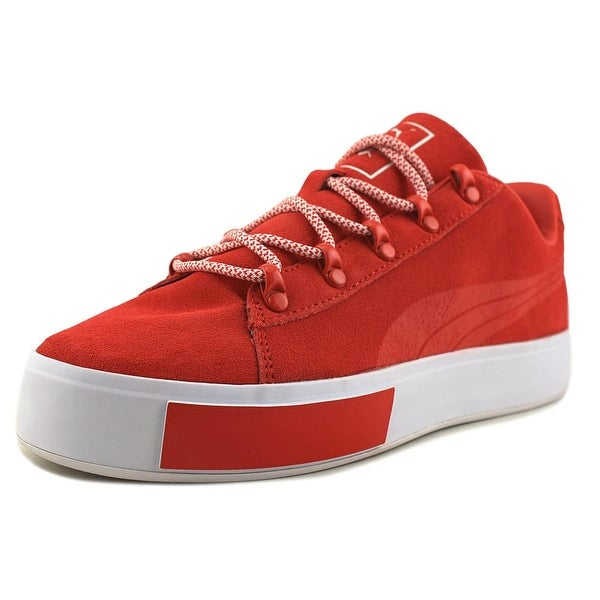 Puma Puma x DP Court Platform S Men Round Toe Suede Red Sneakers