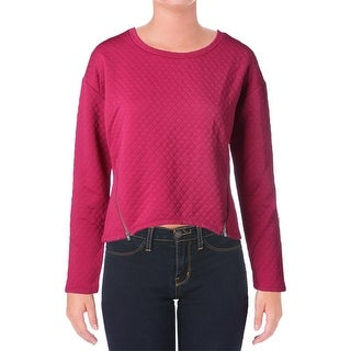 Almost Famous Womens Juniors Pullover Sweater Quilted Asymmetrical