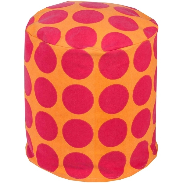 Shop 18 Quot Bright Pink And Orange Polka Dot Round Woven