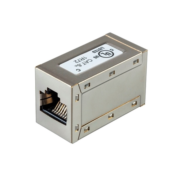 Monoprice Shielded Straight Through Cat6A RJ45 In-Line Coupler - Silver Use for Networking, Patch Cables, Ethernet Cable/Chord