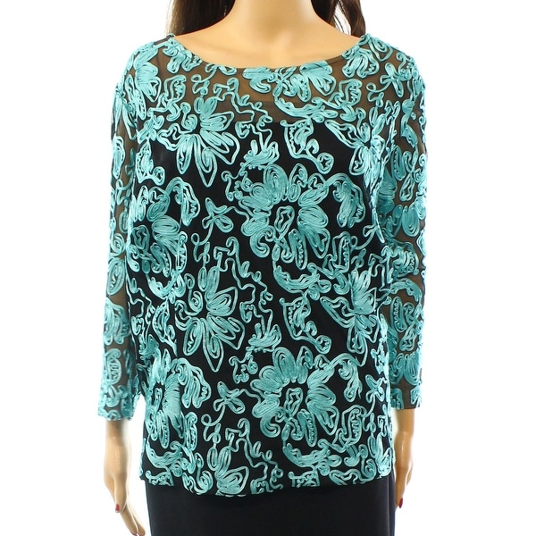 Alex Evenings NEW Blue Women's Size 3X Plus Soutache Mesh Blouse