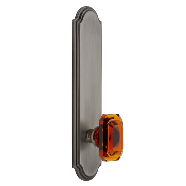 """Grandeur ARCBCA_TP_PSG_238 Arc Solid Brass Tall Plate Rose Passage Door Knob Set with Baguette Amber Crystal Knob and 2-3/8"""""""
