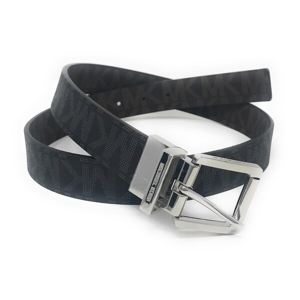 Michael Kors Women's 30mm Black To Brown Reversible MK Logo Monogram Synthetic Leather Belt 553793C