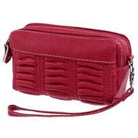 Unique Bargains Faux Leather Dark Red Zipper Handbang Wrist Bag for Women