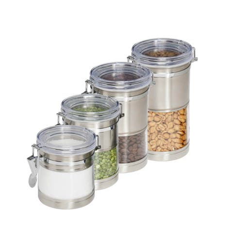 Honey-Can-Do KCH-01310 Stainless-Steel & Acrylic Clear Canister Containers,4-Pk
