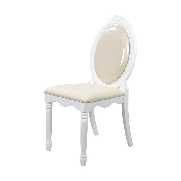 Wooden Armless Chair With Fabric Upholstered Seat, White