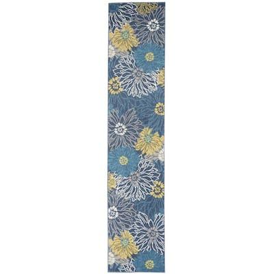 Blue Tropical Flower Rug