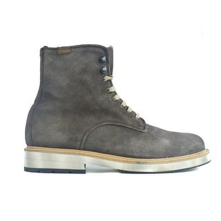 Lo. White Mens Brown Distressed Suede High Top Lace Boots