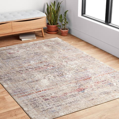 Alexander Home Adrian Distressed Abstract Transitional Area Rug