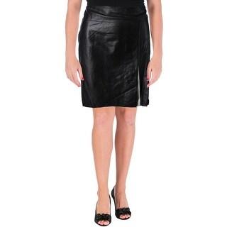 Lauren Ralph Lauren Womens Pencil Skirt Lambskin Leather Colorblock