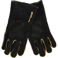 Forney 53425 Black Leather Men's Welding Gloves, Large