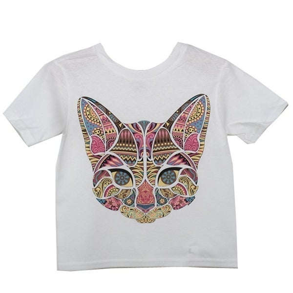 0c825c8c3 Shop Girls White Colorful Mosaic Cat Print Short Sleeve Cotton T-Shirt 8-20  - Free Shipping On Orders Over $45 - Overstock - 28295676
