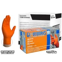 GLOVEWORKS Orange Nitrile Industrial Latex Free Disposable Gloves (Case of 1000)